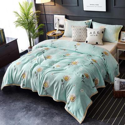 双面绒毯子超柔加厚云貂绒毛毯法莱绒毛毯 床单盖毯 70X100cm随机花型 清新花语