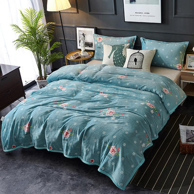 双面绒毯子超柔加厚云貂绒毛毯法莱绒毛毯 床单盖毯 70X100cm随机花型 芬芳花园
