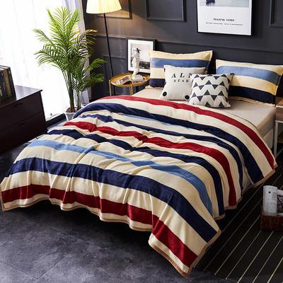 双面绒毯子超柔加厚云貂绒毛毯法莱绒毛毯 床单盖毯 70X100cm随机花型 裸婚条纹
