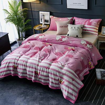 双面绒毯子超柔加厚云貂绒毛毯法莱绒毛毯 床单盖毯 70X100cm随机花型 粉红豹