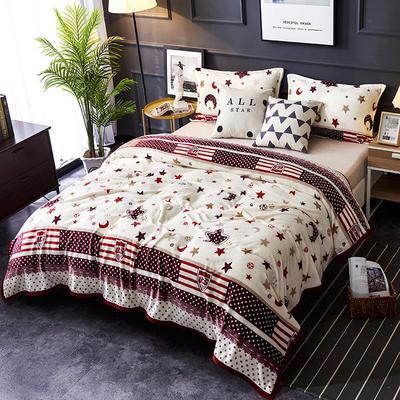 双面绒毯子超柔加厚云貂绒毛毯法莱绒毛毯 床单盖毯 70X100cm随机花型 星月神话