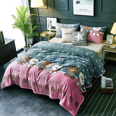 双面绒毯子超柔加厚云貂绒毛毯法莱绒毛毯 床单盖毯 70X100cm随机花型 好朋友