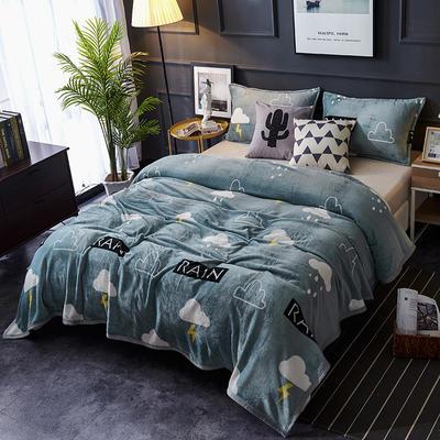 双面绒毯子超柔加厚云貂绒毛毯法莱绒毛毯 床单盖毯 70X100cm随机花型 雨中情