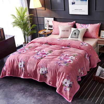 双面绒毯子超柔加厚云貂绒毛毯法莱绒毛毯 床单盖毯 70X100cm随机花型 花海
