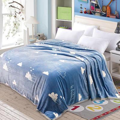 双面绒毯子超柔加厚云貂绒毛毯法莱绒毛毯 床单盖毯 70X100cm随机花型 云朵