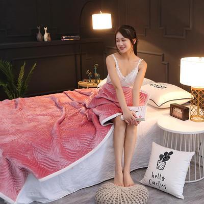 加厚绗缝夹棉休闲复合毯 双面法莱绒三层毛毯盖毯软床垫加厚床单 70cmX100cm促销尺寸随机颜色 豆沙