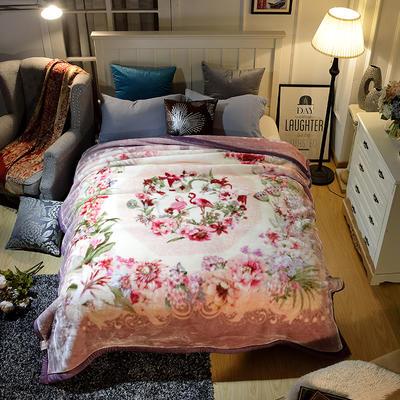 2018新款双层加厚保暖安哥拉毛毯 9斤200*230 200cmx230cm 爱的火烈鸟