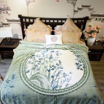 2018新款-中式系列毛毯 200*230cm 竹林晚风绿