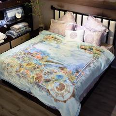 城市居品 2018新款双层加厚保暖安哥拉毛毯 9斤200*230 200cmx230cm 巴塞舞曲