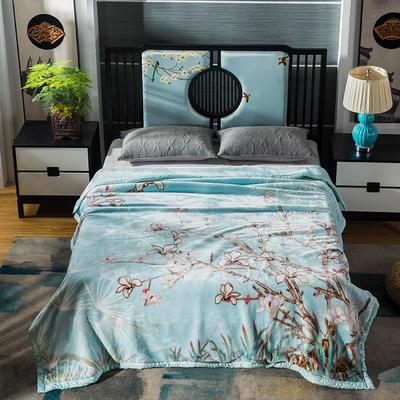 2019新款新中式毛毯 200cmx230cm 爱的絮语绿