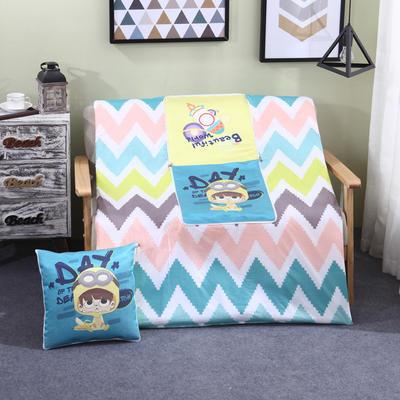 AB版冰丝印花抱枕被系列 小号(40*40展开105*150cm) 可爱小孩