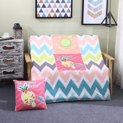AB版冰丝印花抱枕被系列 小号(40*40展开105*150cm) 柠檬菠萝
