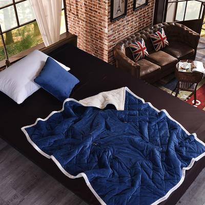 2020新款AB版超柔抱枕被毯系列 50*50展开150*195 宝蓝色