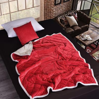 2021新款AB版超柔抱枕被毯系列 40*40展开125*160cm 大红色