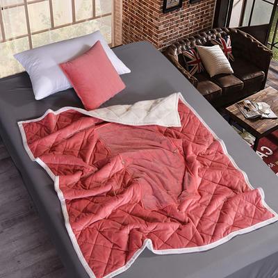 2021新款AB版超柔抱枕被毯系列 40*40展开125*160cm 豆沙色