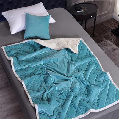 2021新款AB版超柔抱枕被毯系列 40*40展开125*160cm 湖绿色