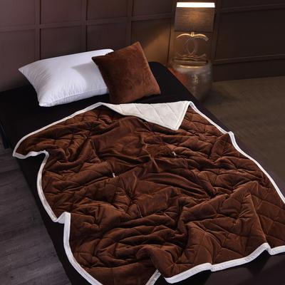 2021新款AB版超柔抱枕被毯系列 40*40展开125*160cm 咖啡色