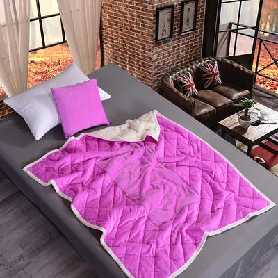 2020新款AB版超柔抱枕被毯系列 40*40展开125*160cm 玫红色