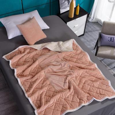2021新款AB版超柔抱枕被毯系列 40*40展开125*160cm 浅驼色
