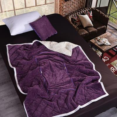 2021新款AB版超柔抱枕被毯系列 40*40展开125*160cm 深紫色