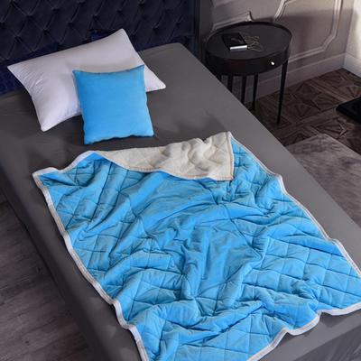2020新款AB版超柔抱枕被毯系列 40*40展开125*160cm 天蓝色