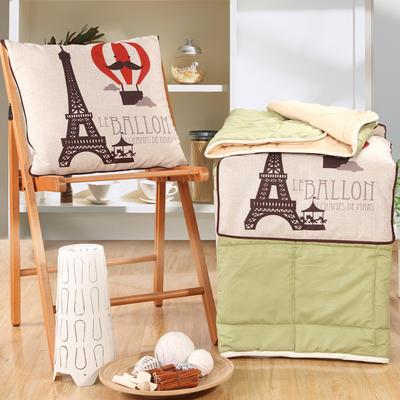 棉麻抱枕被系列 (45*45展开115*150cm) 巴黎之旅