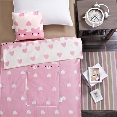 2020新款全棉印花抱枕被系列 小号(40*40展开105*150cm) 可爱小熊粉色