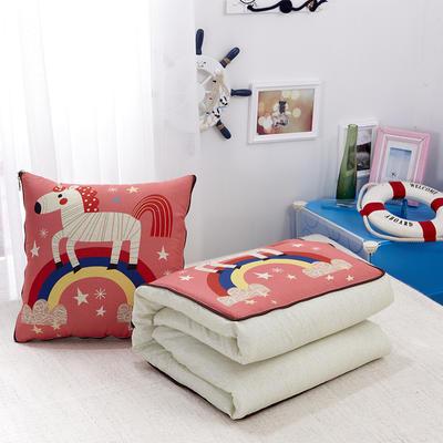 2020新款数码印花抱枕被系列 小号(40*40展开100*150cm) 彩虹斑马