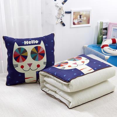 2020新款数码印花抱枕被系列 小号(40*40展开100*150cm) 哈喽猫