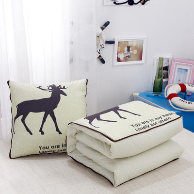 2020新款数码印花抱枕被系列 小号(40*40展开100*150cm) 率真小鹿