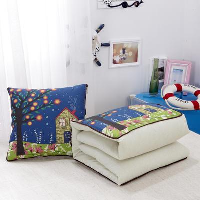 2020新款数码印花抱枕被系列 小号(40*40展开100*150cm) 幸福家园
