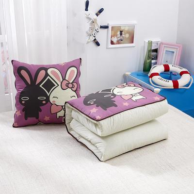 2020新款数码印花抱枕被系列 小号(40*40展开100*150cm) 幸福小兔