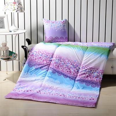 优舒绒印花抱枕被系列 小号(40*40展开100*150cm) 繁花似锦-紫