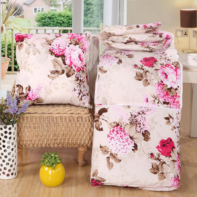 优舒绒印花抱枕被系列 小号(40*40展开100*150cm) 花开朵朵