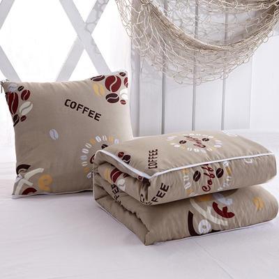 2020新款优舒绒印花抱枕被系列 小号(40*40展开100*150cm) 咖啡