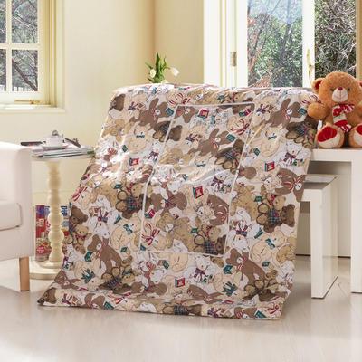 优舒绒印花抱枕被系列 小号(40*40展开100*150cm) 熊宝宝