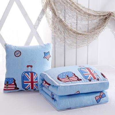 优舒绒印花抱枕被系列 小号(40*40展开100*150cm) 英伦学院
