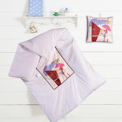 数码印花抱枕被系列 小号(40*40展开100*150cm) 雨伞女孩