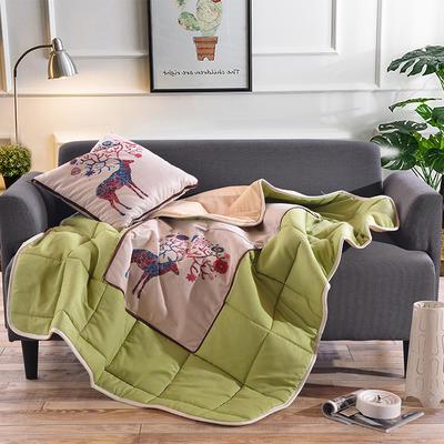 棉麻抱枕被系列 (45*45展开115*150cm) 麋鹿