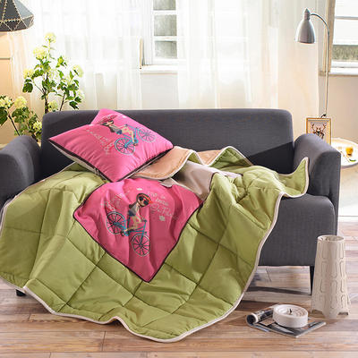 棉麻抱枕被系列 (45*45展开115*150cm) 铁塔女孩