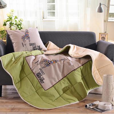 棉麻抱枕被系列 (45*45展开115*150cm) 五彩小鹿