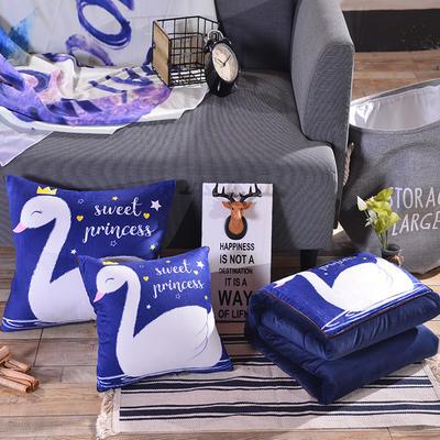 2020新款加厚双面水晶绒印花抱枕被 40X40展开105*150 天鹅