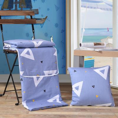 2021新款全棉印花抱枕被系列 大号50*50展开150*195cm) 三角形(深蓝)