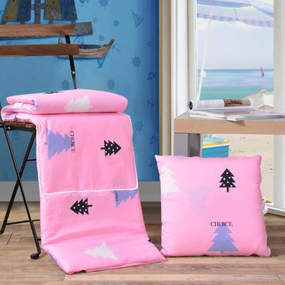 全棉印花抱枕被系列 小号(40*40展开105*150cm) 圣诞树(粉)