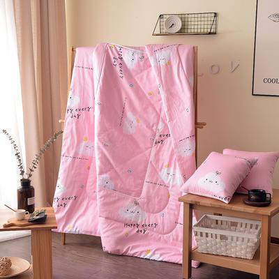 全棉印花抱枕被系列 小号(40*40展开105*150cm) 快乐每一天粉
