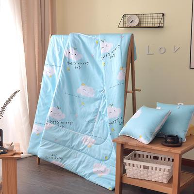 2021新款全棉印花抱枕被系列 大号50*50展开150*195cm) 快乐每一天蓝