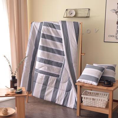 2021新款全棉印花抱枕被系列 大号50*50展开150*195cm) 灰色条纹