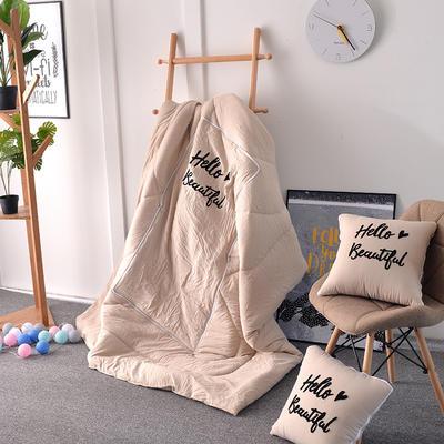 2021新款水洗棉刺绣抱枕被 50X50展开150*195 米灰