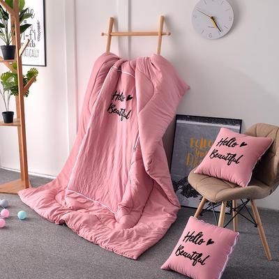 2021新款水洗棉刺绣抱枕被 50X50展开150*195 粉玉