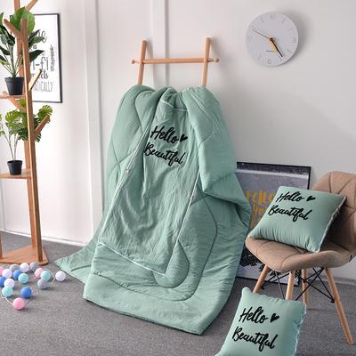 2021新款水洗棉刺绣抱枕被 50X50展开150*195 水蓝